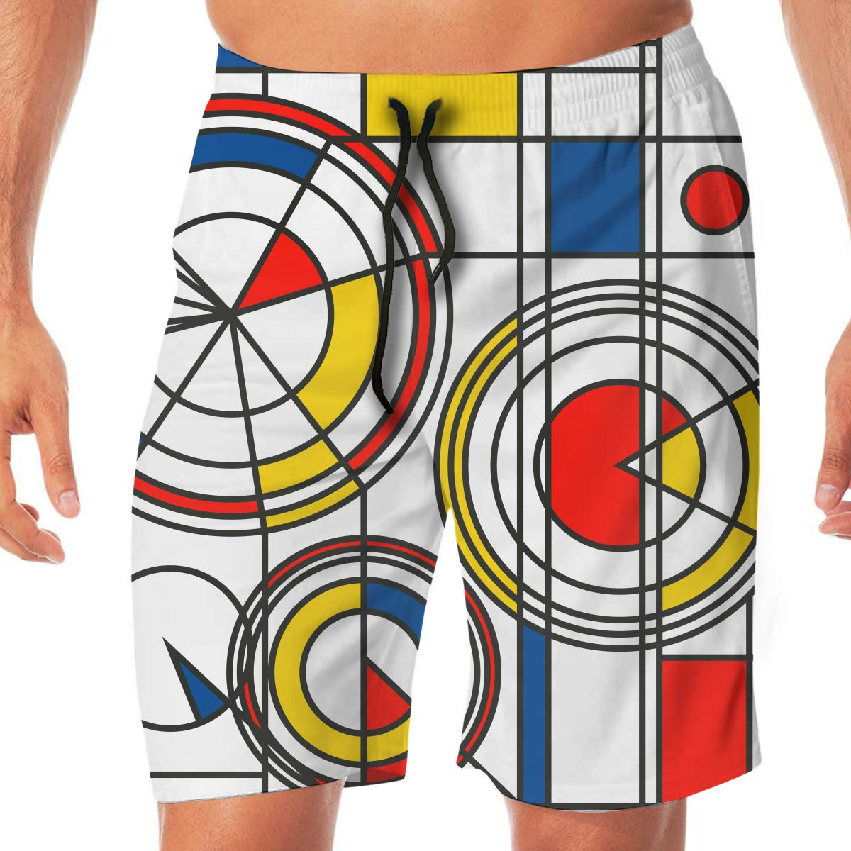 Flying XIE Yellow Red Blue Abstract Mens Humor Beach Shorts Surf Board Quick-Drying Swim Trunks