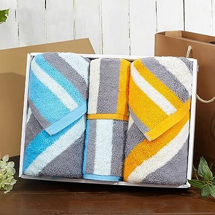 Toalla de baño Puede Usar Toallas de algodón de algodón Hueco de Rayas 2 Toallas Paquete