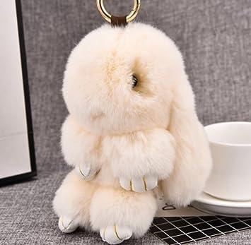 1 pc Mini bolsillo de piel de conejo llavero llavero llavero ...