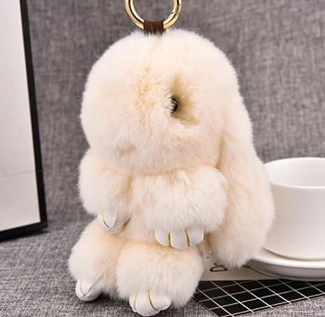 Amazon.com: 1 pc Mini bolsillo piel de conejo llavero ...