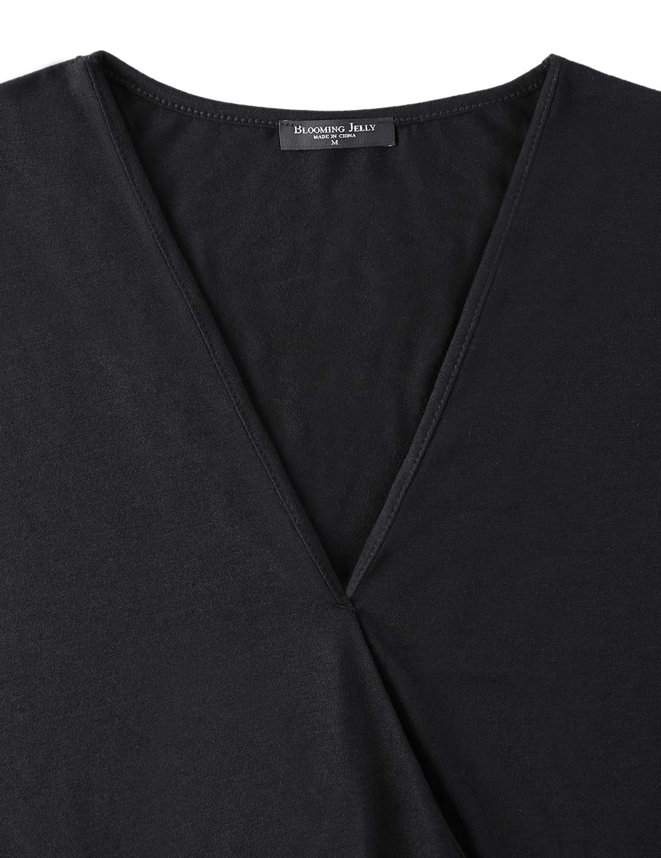 BMJL Women\'s V Neck T Shirt Drape Lace Splicing Puff Sleeve Top Loose Blouse (L,Black)