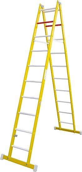 Escalera de tijera de doble subida aislante, fabricada en fibra de vidrio. Según norma UNE-EN 131 (10 peldaños): Amazon.es: Bricolaje y herramientas
