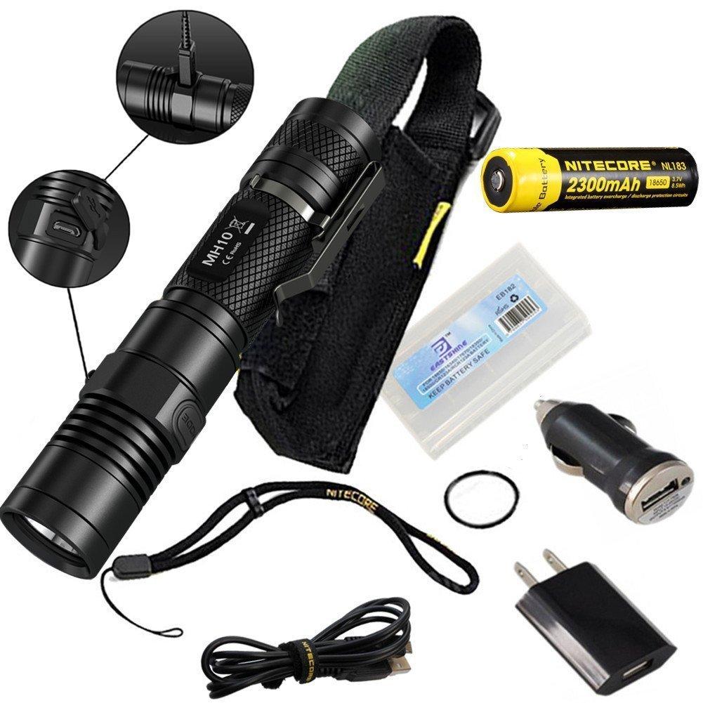 Nitecore MH10 USB Rechargeable Flashlight CREE XM-L2 U2 Portable Torch Waterproof Compact Searchlight With NL183 2300mAh 18650 Battery [並行輸入品] B01N7HSIYU
