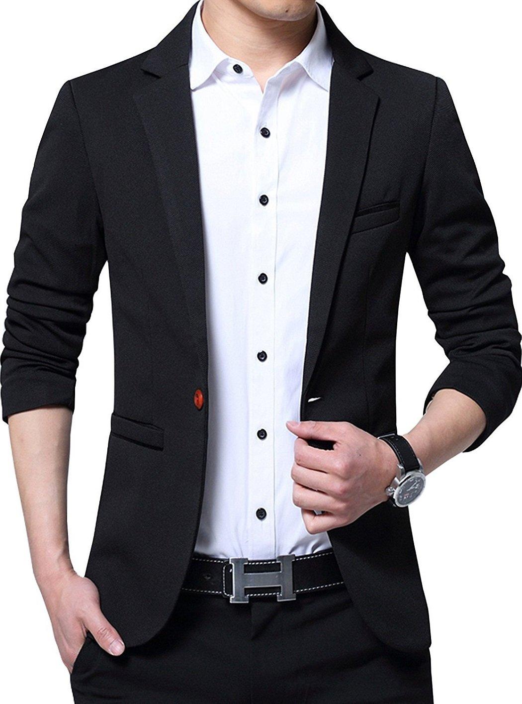 YIMANIE Mens Blazer Jacket Slim Fit Casual Single One Button Premium Lightweight Blazer Coat Black Medium
