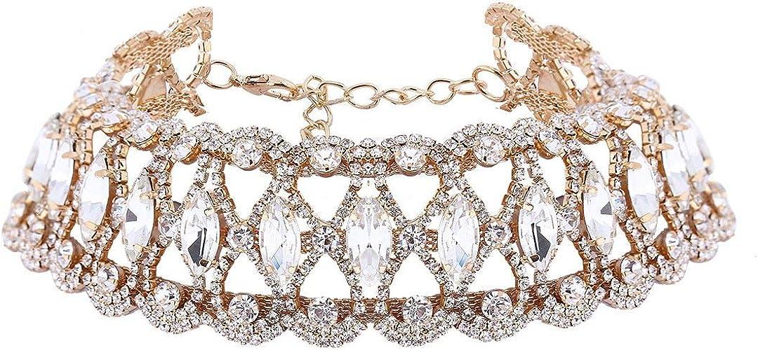 Sparkling Diamond Choker Multi Layered Rhinestone Chain Gold Silver Necklace