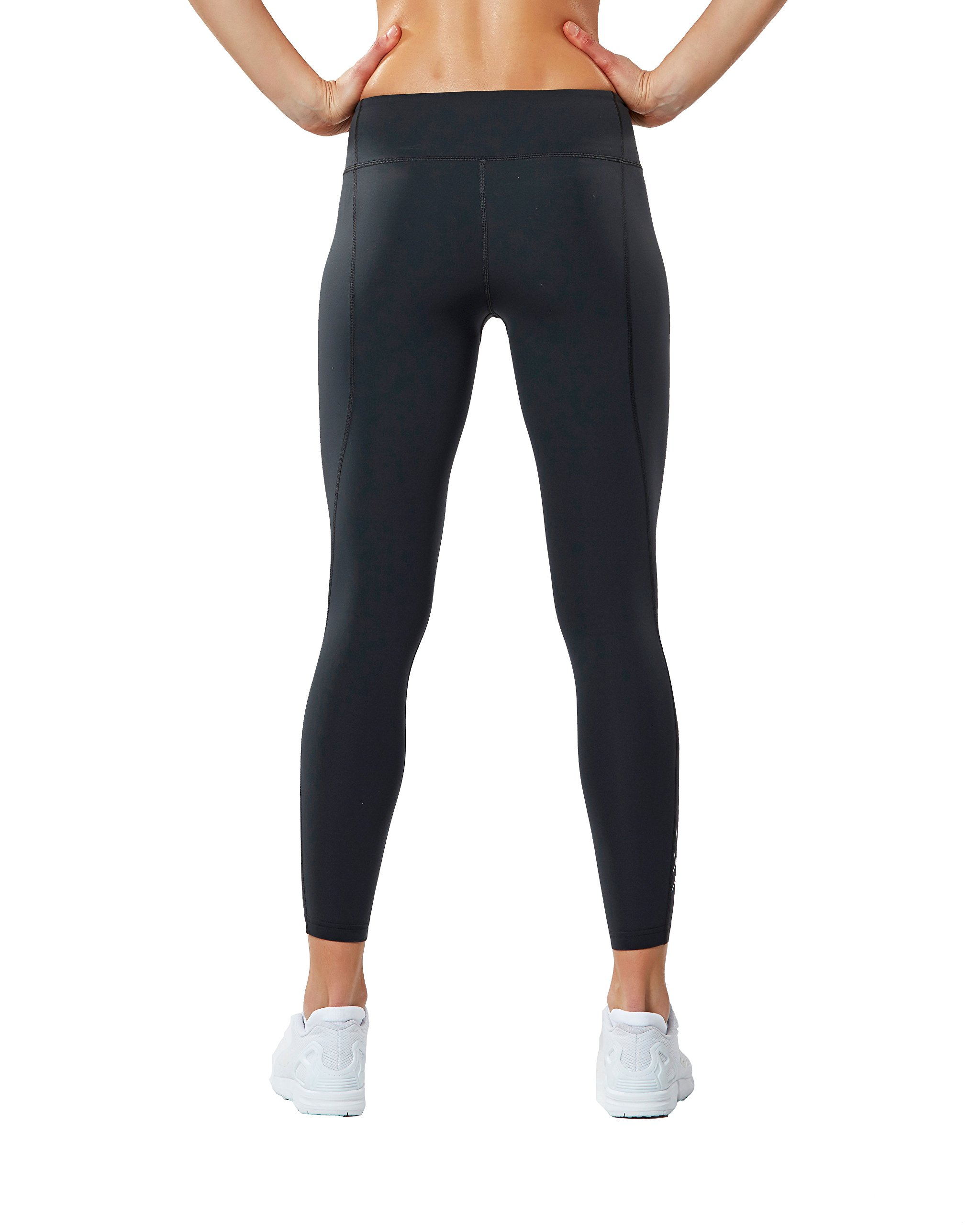 2XU Women's Fitness Compression Tights, Dark Charcoal/Silver, Medium/Tall by 2XU (Image #3)