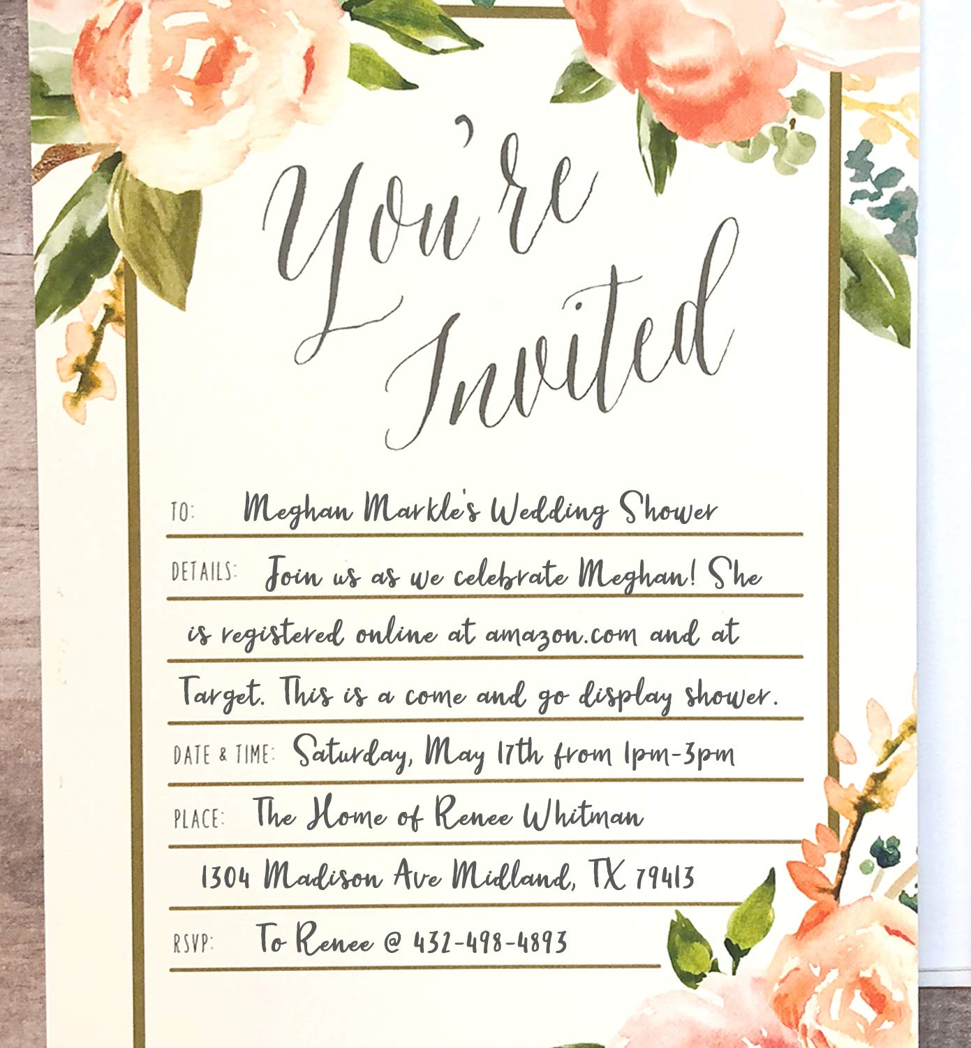 25 Floral Party Invitations with Envelopes | Blank, Fill-in Invites | Great for Bridal Showers, Girl Baby Showers, Graduation, Bachelorette, Sweet 16, Rehearsal Dinner, Birthdays, Weddings by Angie Makes (Image #6)
