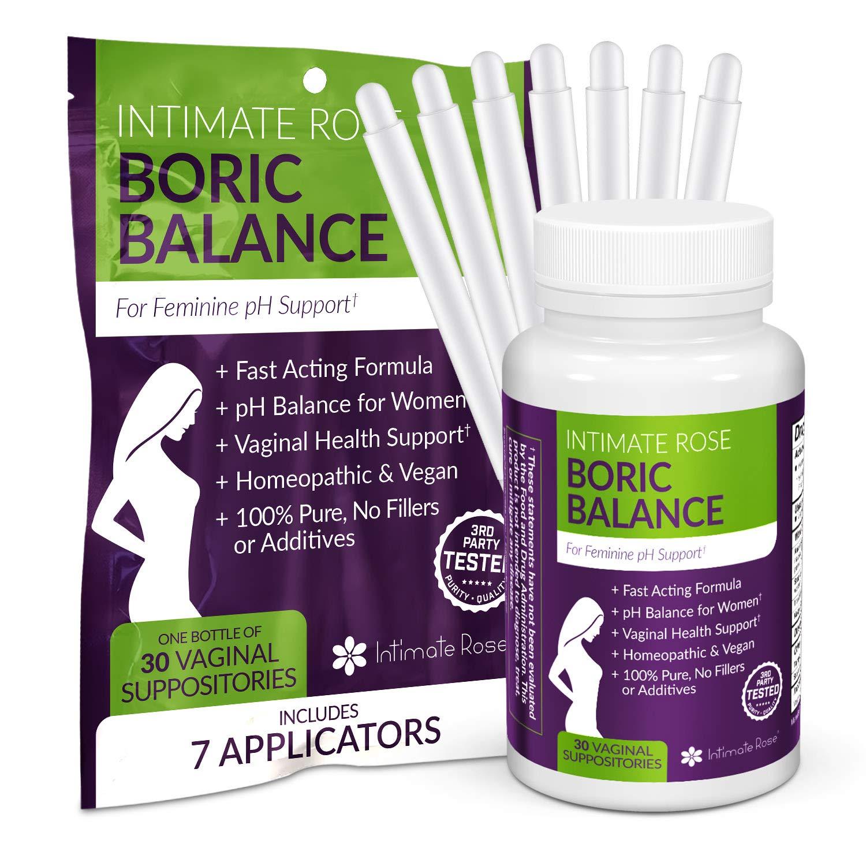 Boric Acid Vaginal Suppositories - 30 Count (600mg) + 7 Applicators - Balance pH, Vaginal Odor, Promote Vaginal Health