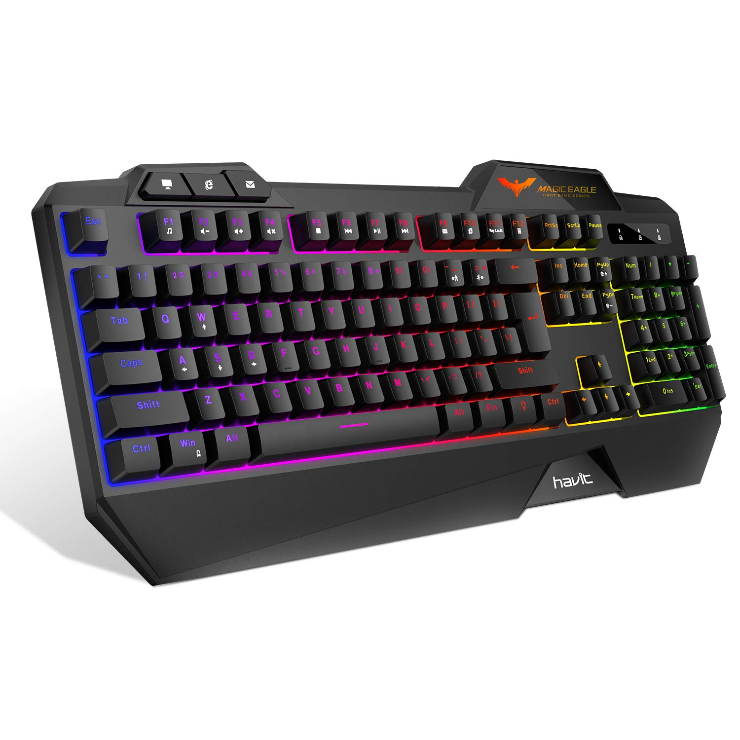 HAVIT Rainbow Backlit Wired Gaming Keyboard 104 Keys LED USB Ergonomic Wrist Rest Keyboard for Windows PC Gamer Desktop, Computer (Black)