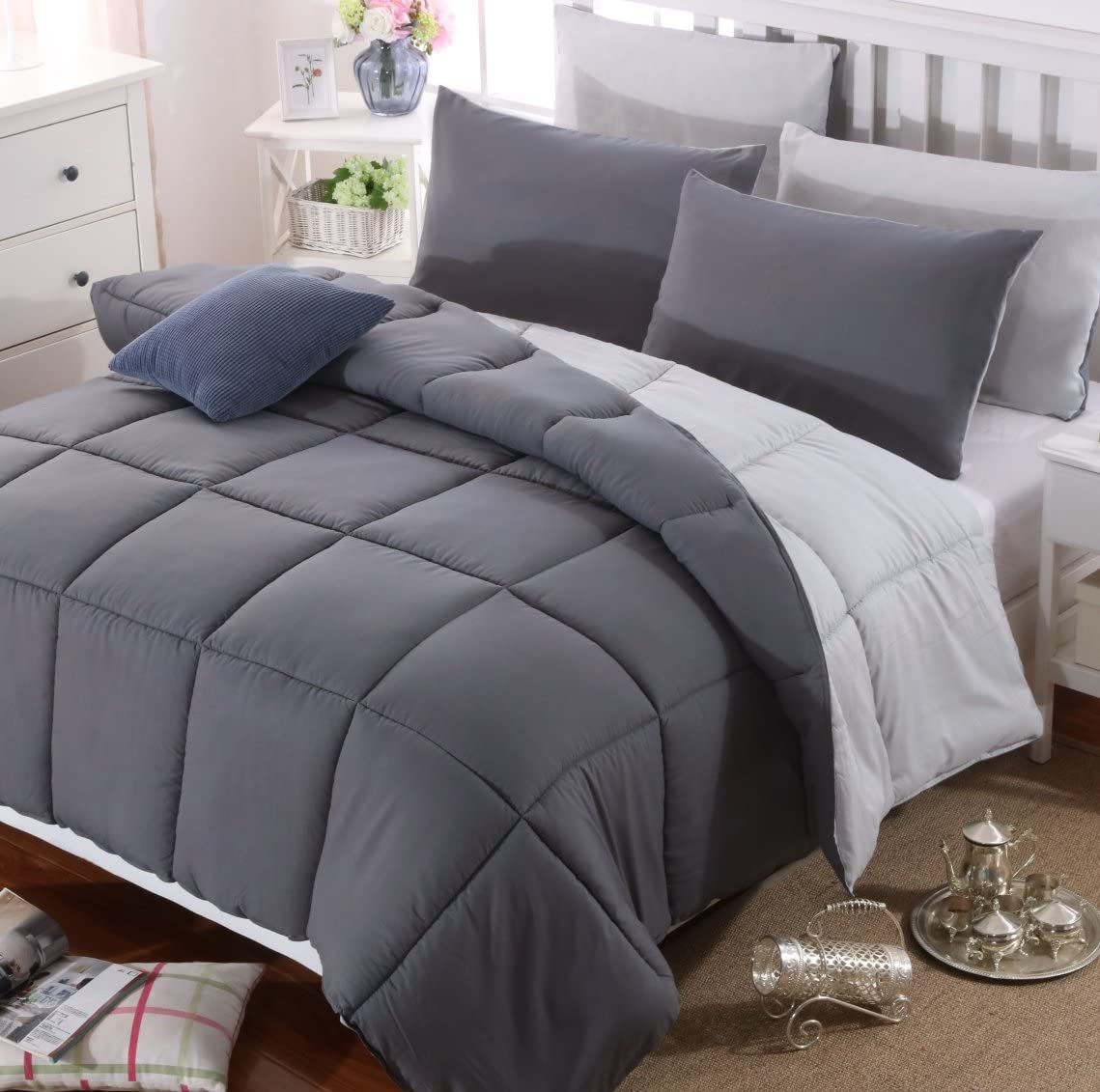 AYSW Duvet Double Comforter Warm and Anti Allergy All Season Dark Grey and Light Grey NO Pillowcases Only Quilt 10.5 Tog Duvet