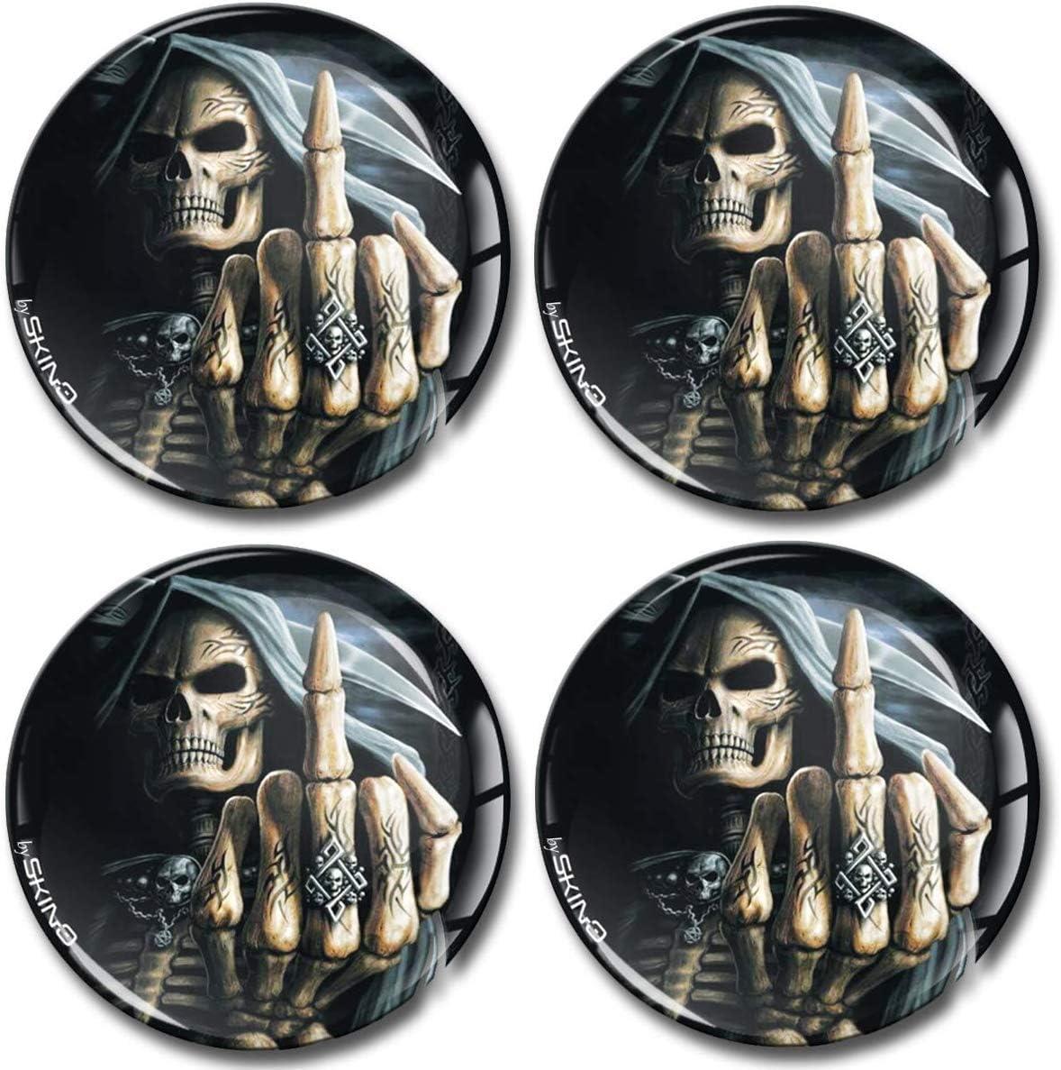 SkinoEu/® 4 x 60mm Aufkleber 3D Gel Silikon Autoaufkleber Stickers Totenkopf Sch/ädel Skull Skelett Felgenaufkleber F/ür Radkappen Nabenkappen Radnabendeckel Rad-Aufkleber Nabendeckel Auto Tuning A 2560