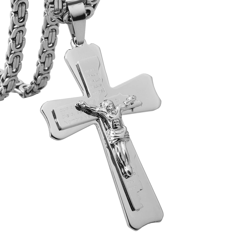 Metal Color: Golden, Main Stone Color: Large Davitu Personalized 316 Stainless Steel Men Necklaces Pendants for Boy Chain Black Golden Silver Color Fashion Mens Jewelry