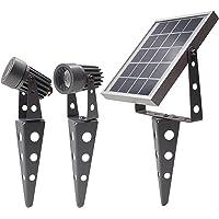 Gunmetal Finish, MINI 50X Twin Solar-Powered LED Spotlight (Cool White LED), Total Cable Length 32ft, for LED Lighting Outdoor Garden Yard Landscape Walkway