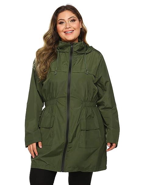 outlet online limited sale big discount IN'VOLAND Plus Size Raincoats Long Rain Jacket Lightweight Hooded  Waterproof Outdoor Windbreaker