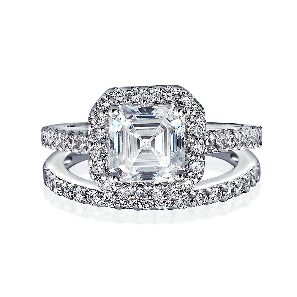 Bling Jewelry Antique Style CZ Asscher Engagement Ring Wedding Set - Size 7