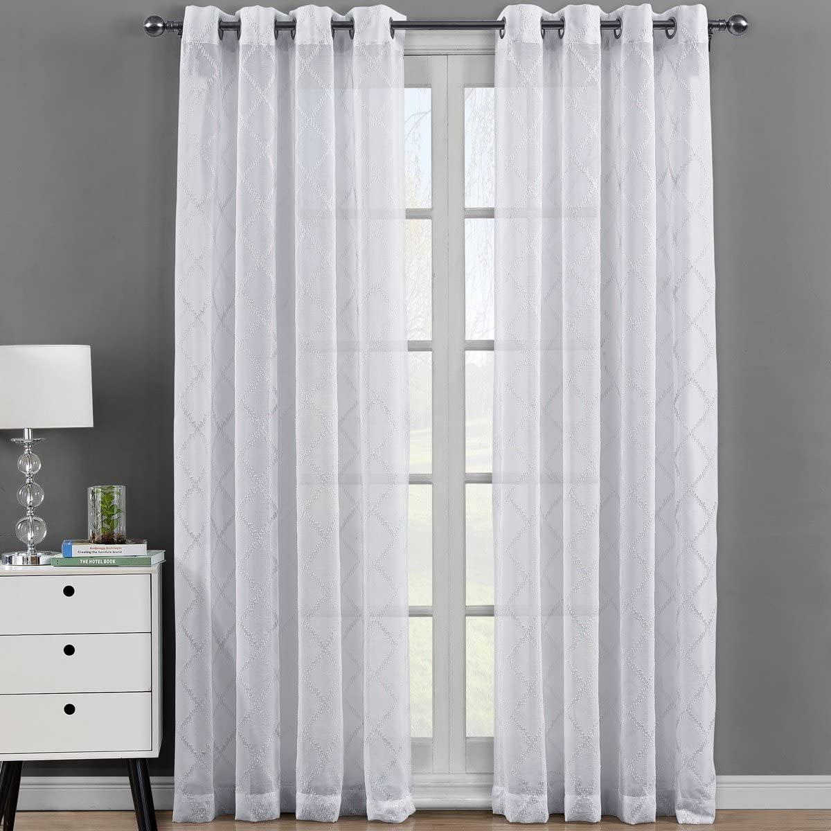 Royal Bedding Harvard White Sheer Panels, Top Grommet Embroidered Sheer Curtain Panels, Set of 2, 54Wx108L inches Each
