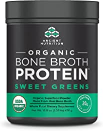 Ancient Nutrition Organic Bone Broth Protein Powder, Sweet Greens Flavor, 17 Servings Size - Organic, Gut-Friendly, Paleo-Friendly