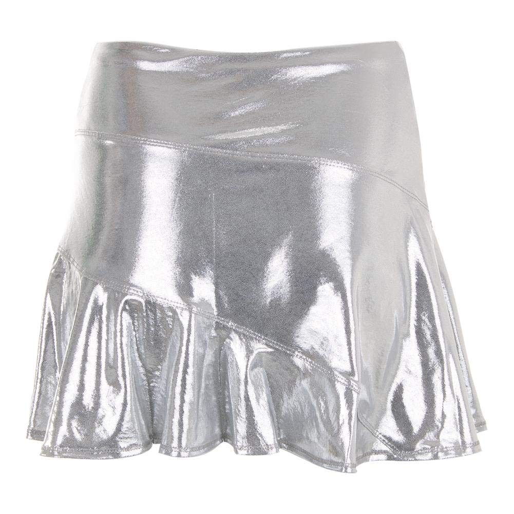 42e047576 Lucky In Love Go for The Metal Long Asymmetrical Olympian Skirt (Large)  Metallic Silver at Amazon Women's Clothing store: