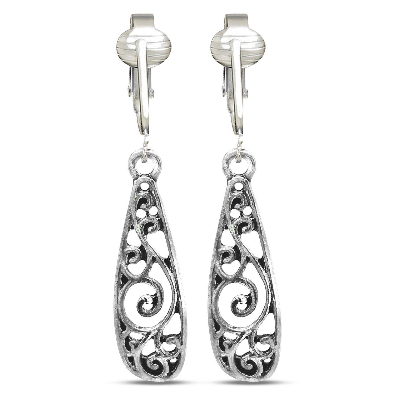 Silver Filigree Hoops/Drop Clip On Earrings for Women & Girls Clip-ons, Silver Unpierced Earrings Dangle (Filigree Teardrops)