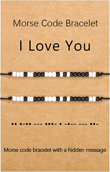 bracelet for him couple\u2019s jewelry Morse Code jewelry his and hers gift bracelet for her I Love You gift Jewelry that says I love you