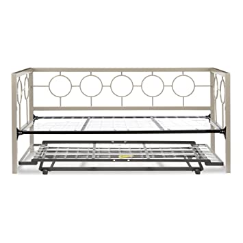 astoria complete metal daybed with link spring and trundle bed popup frame champagne