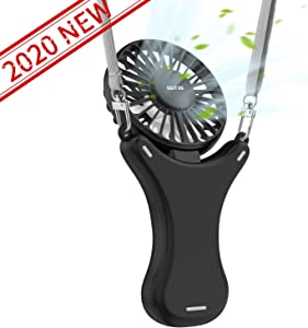 OUTXE Necklace Fan 108° Rotating Free Adjustment, Mini Portable USB Personal Fan 3 Setting, Cooling Folding Electric Fan Rechargeable Battery, Handheld Fan for Outdoor Event, Travel (Black,2000mAh)