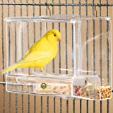Acrylic Glass Bird Feeder Set - Spill-proof, Crystal clear - Easy to assemble & install with 2 Hooks - Perch provides enjoyable eating time to Finch, Parakeet, Sparrows - Perfect for all Cage Sizes