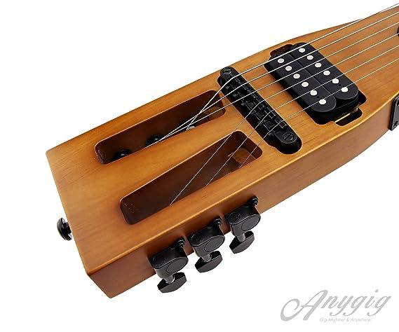 Guitarra eléctrica de Viaje portátil de edición Mejorada Anygig 010~046 con Cable de Salida de Audio Negro Mate con Bolsa de Transporte: Amazon.es: Hogar