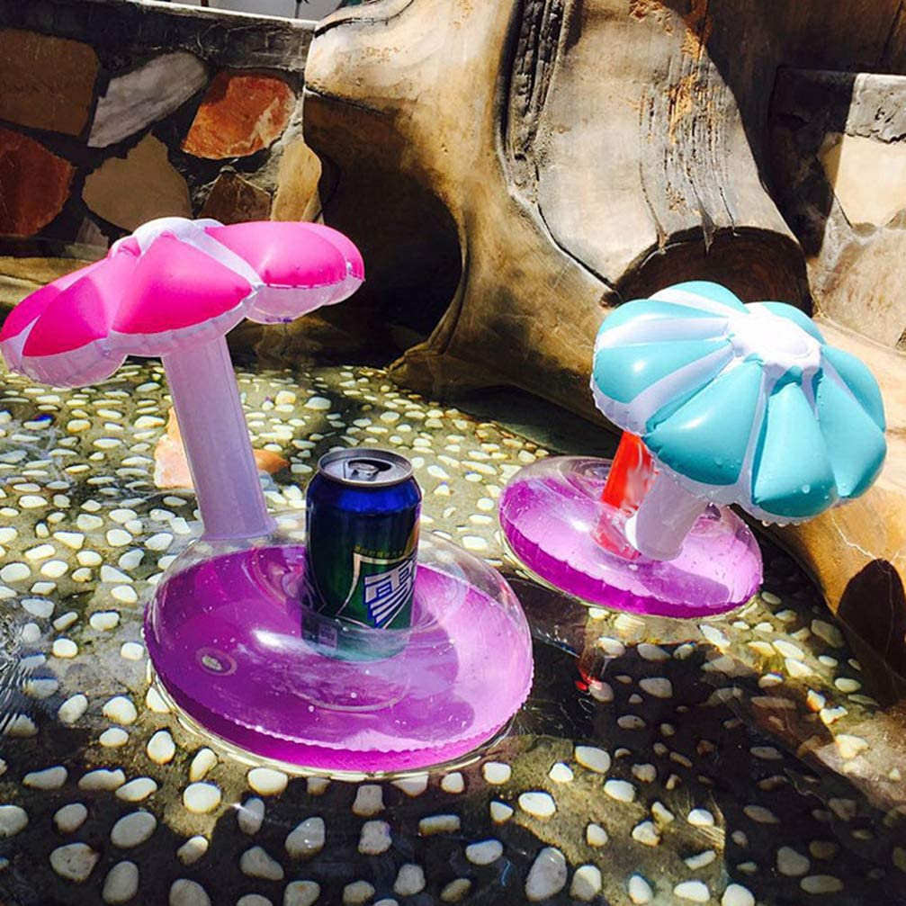 Yardwe Posavasos Inflables Titular de Bebida Juguetes de Hongos de Playa Flotador de Piscina Juguete de Ba/ño Rosa El Color de Base es Aleatorio