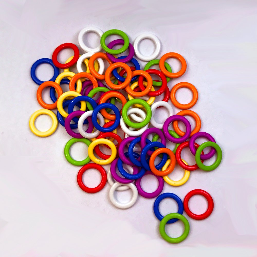 (140 Pieces) Colorful Iron O-Rings & Stitch Ring Markers for Knitting/Crochet/etc, (Includes 7 Colors, for Knitting/Crochet/etc)(Small Internal Diameter 6mm) Shenzhen Zhonghuan Co. Ltd.