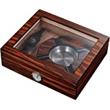 Visol Eiger Small Glasstop Humidor Ashtray and Cutter Gift Set