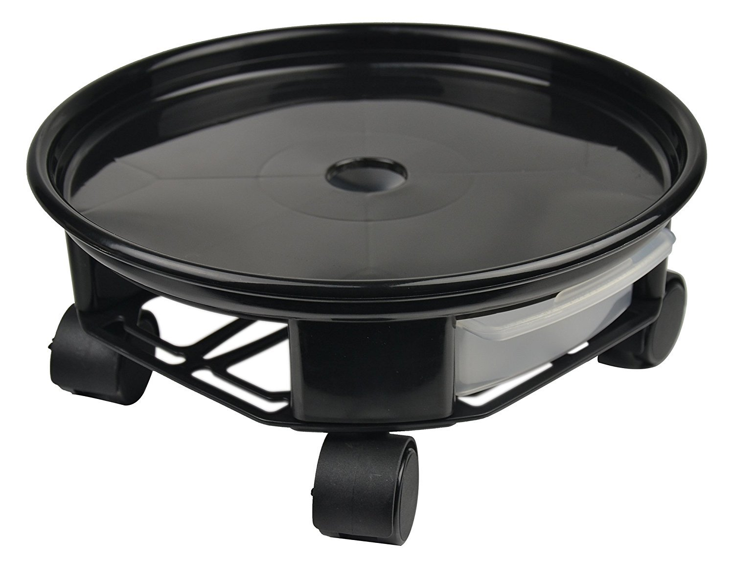 Antetok 9.4'' Plant Caddy Round Plant Dolly Trolley Saucer Moving Tray Pallet with Wheels and a Water Container Black