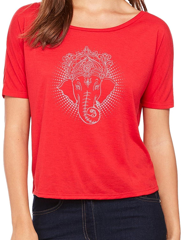 """Yoga Clothing For You Ladies """"Iconic Ganesha"""" Open Back Shirt"""