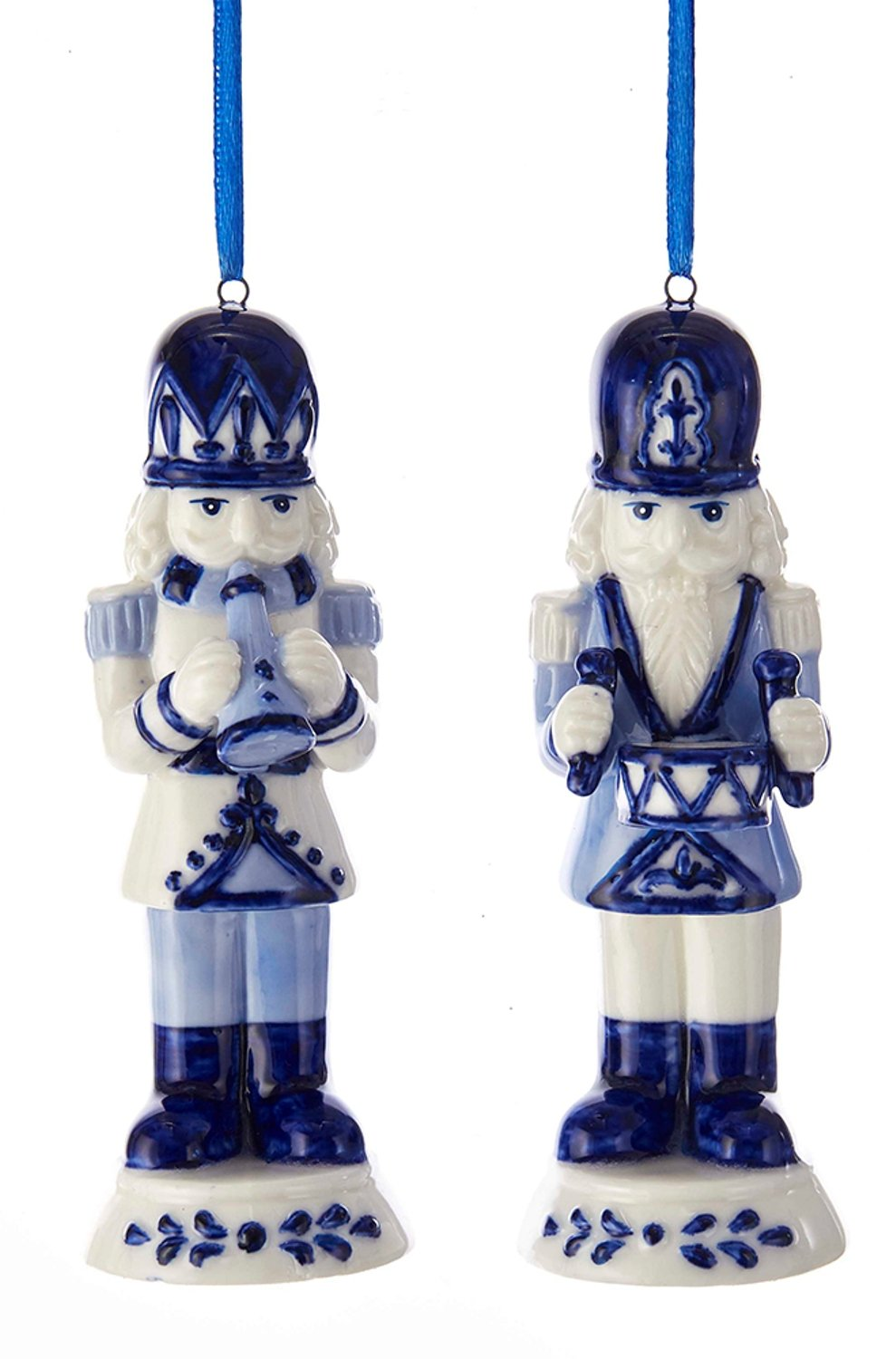 Kurt Adler Delft Blue Nutcracker Figures Christmas Holiday Ornaments Set of 2 Porcelain