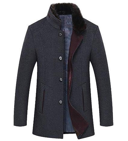 416282dc0fa8 DAFREW Men s Wool Jacket,Thick Winter Warm Collar Jacket,Fashion Business Woolen  Coat (