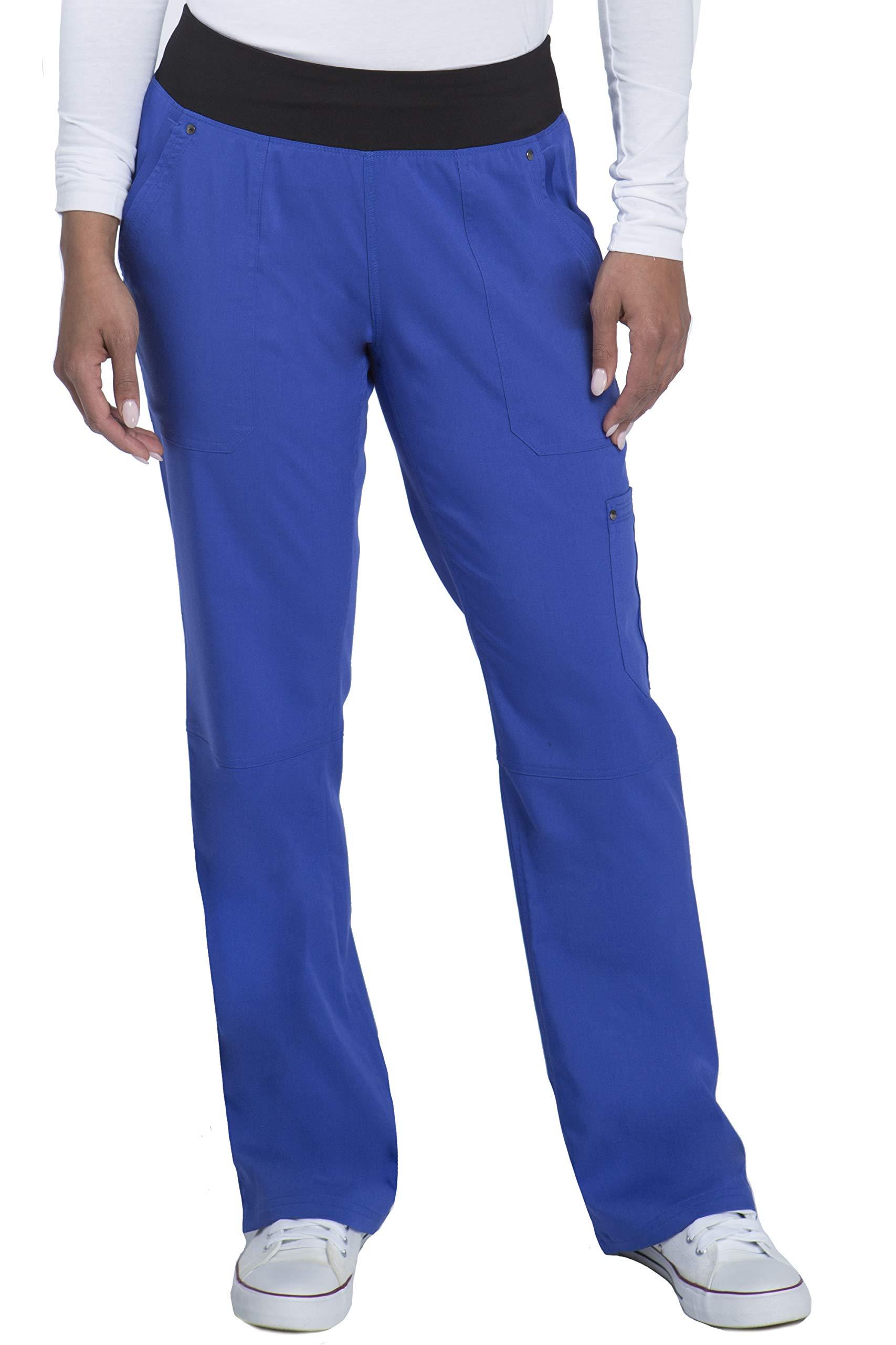 healing hands Purple Label Yoga Women's Tori 9133 5 Pocket Knit Waist Pant Paris Blue/Black -Large Petite