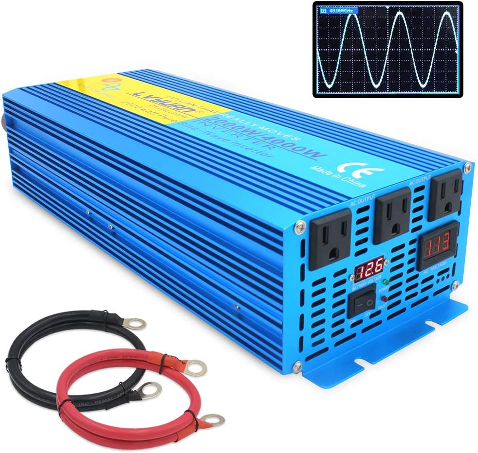 IpowerBingo Pure Sine Wave Power Inverter 2000W/4000W(Peak) 12V DC to 110 V AC with 3 AC Outlets 2 Battery Cables with LCD Display Car Boat Inverter