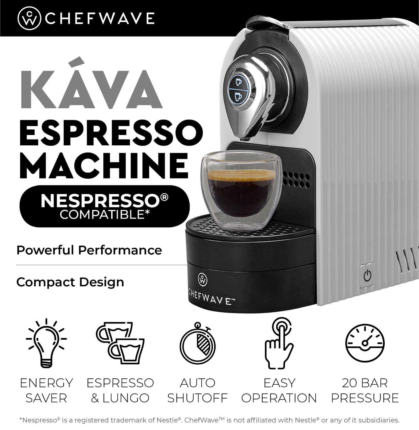 ChefWave Mini Espresso Machine - Nespresso Capsules Compatible - Programmable One-Touch 27 Oz. Water Tank, Premium Italian 20 Bar High Pressure Pump - 40 Pod Holder, 2 Double-Wall Glass Cups - White by ChefWave (Image #3)