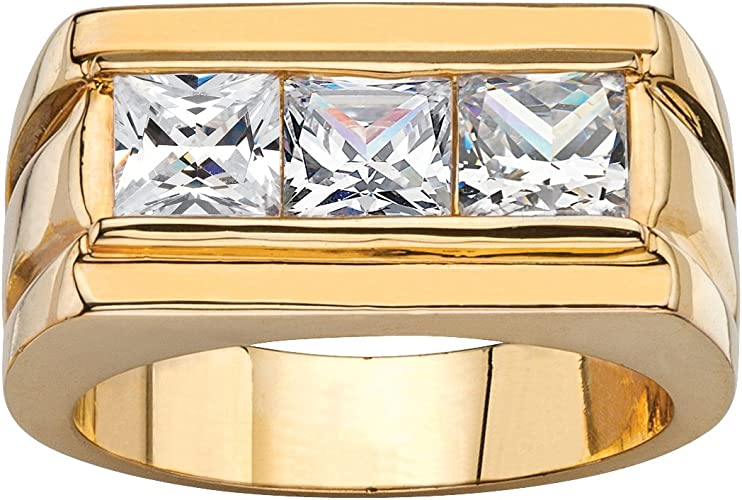 Palm Beach Jewelry Mens 14K Yellow Gold Plated Round Cubic Zirconia Multi Row Grid Ring