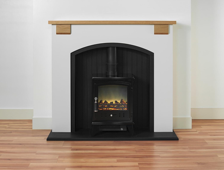 adam vermont stove suite with aviemore electric stove in black