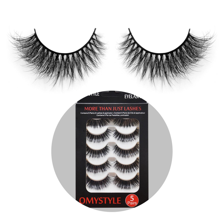 297743d26ac Amazon.com : 3D Fur Mink Eyelashes Natural Long Make up Messy Flirty Fake  Lashes Curly Lightweight False Eyelashes for Women 5 Pairs/Box : Beauty