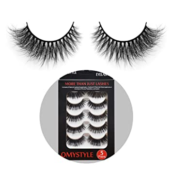 297743d26ac Amazon.com : 3D Fur Mink Eyelashes Natural Long Make up Messy Flirty Fake  Lashes Curly Lightweight False Eyelashes for Women 5 Pairs/Box : Beauty