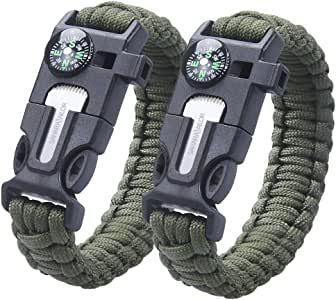 2PCS PACK pulsera de la supervivencia , Sahara Sailor Outdoor Survival Kit Parachute Cord Buckle W Compass Flint Fire Starter Scraper Whistle for Hiking Camping Emergency - army green: Amazon.es: Deportes y