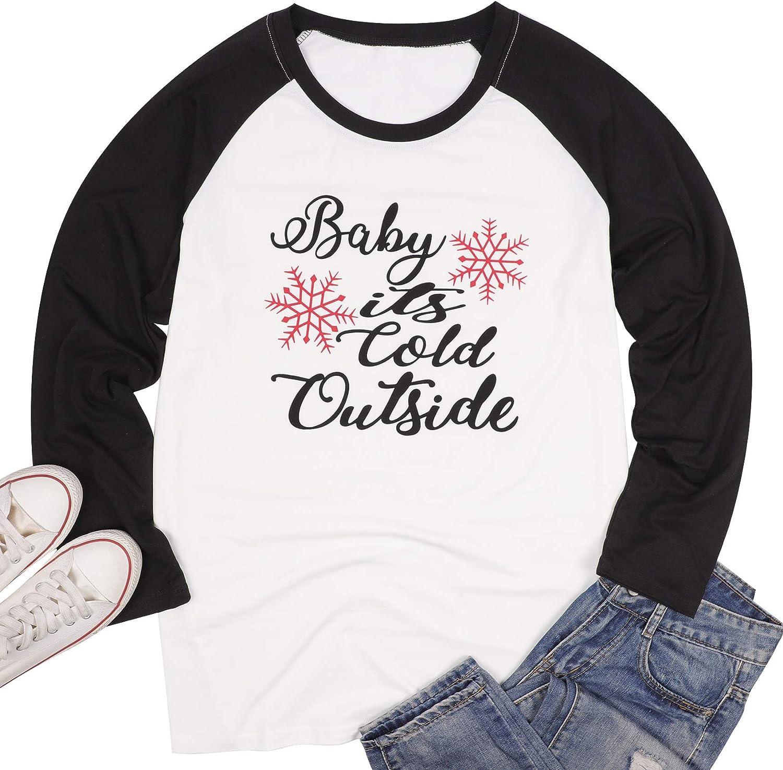 HAPPIShare Plus Size Baby It Cold Outside Christmas T Shirt Womens Plaid Splicing Long Raglan Tops Blouses