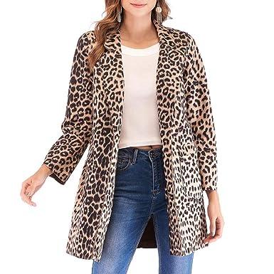 LUCKYCAT Mujeres Leopardo Sexy Invierno cálido Viento Abrigo ...