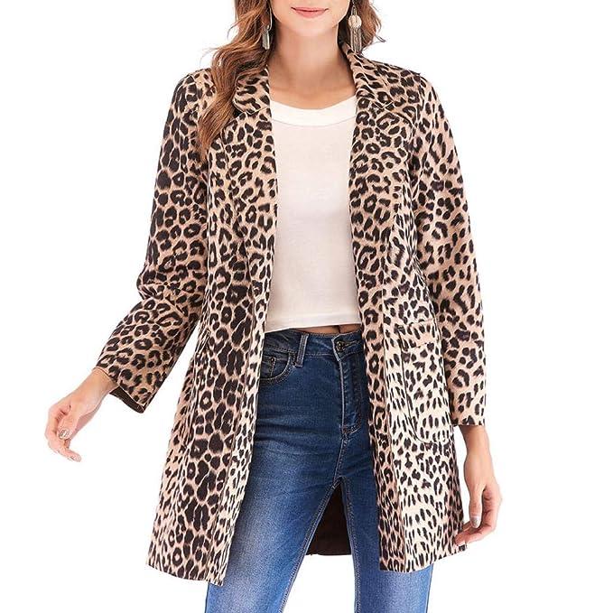 Luckycat Mujeres Leopardo Sexy Invierno cálido Viento Abrigo Cardigan Leopardo de impresión Larga Capa: Amazon.es: Ropa y accesorios