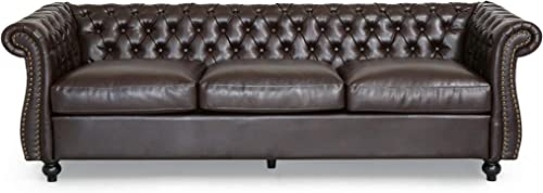 Vita Chesterfield Tufted Faux Leather Sofa