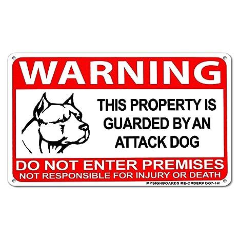 Amazoncom Mysignboards Beware Of Dog Attack Dog On Duty Warning