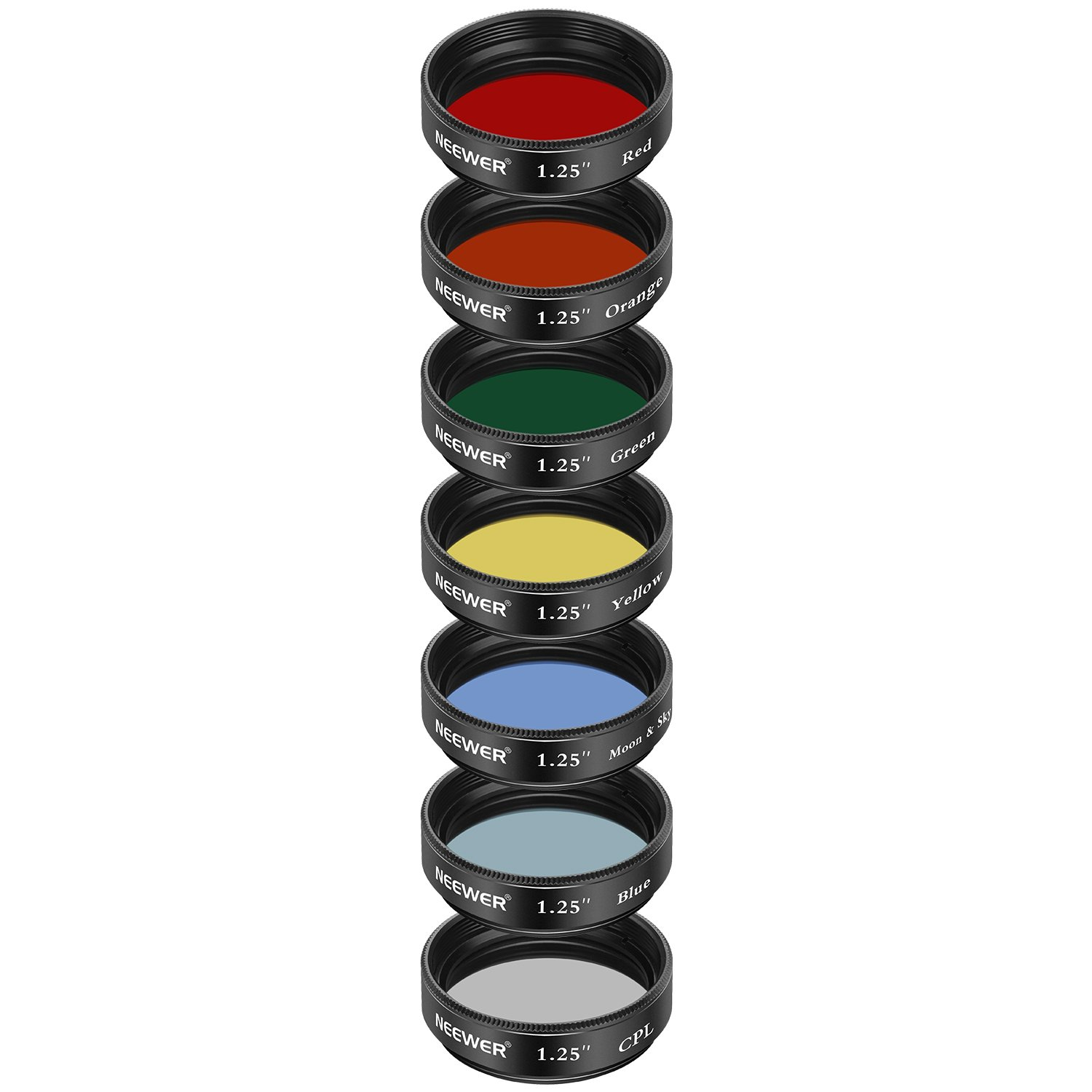 5 Color Filters Set Red, Orange, Yellow, Green, Blue CPL Filter Neewer 1.25 inches Telescope Moon Filter Eyepieces Filters for Enhancing Definition and Resolution in Lunar Planetary Observation
