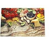 Planche à découper en verre trempé plateau de cuisine de table à dessert ou fromage résiste à la chaleur multifonctions – 20 x 30 cm - Méditerranée